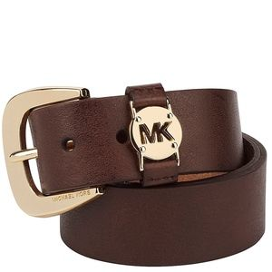 MICHAEL Michael Kors Leather Belt with MK Cutout L